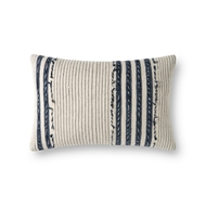 Magnolia Home by Joanna Gaines Natural & Navy Pillow P1139 - Designer Pillow