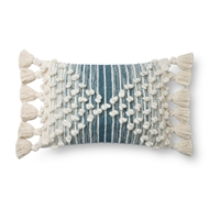 Magnolia Home by Joanna Gaines Ivory & Blue Pillow P1145 - Designer Pillow