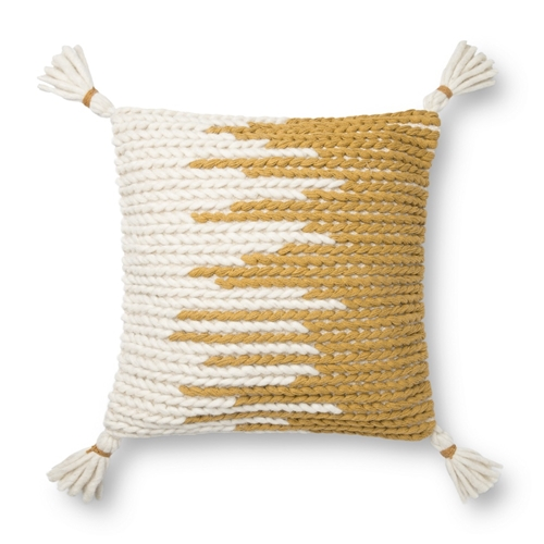 Magnolia Home by Joanna Gaines Natural & Gold Pillow P1146 - Designer Pillow