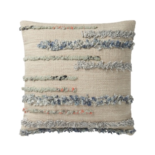 "Magnolia Home 22"" x 22"" Harper Pillow Beige & Multi - P1045 by Joanna Gaines"