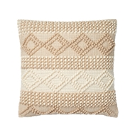 "Magnolia Home by Joanna Gaines 22"" x 22"" Beverly Pillow Beige & Ivory - P1051"