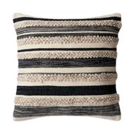 "Magnolia Home by Joanna Gaines 22"" x 22"" Zander Pillow Charcoal & Ivory - P1022"