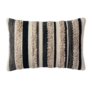 "Magnolia Home by Joanna Gaines 13"" x 21"" Zander Pillow Charcoal & Ivory - P1022"