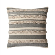 "Magnolia Home by Joanna Gaines 22"" x 22"" Zander Pillow Grey & Ivory - P1022"