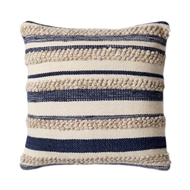"Magnolia Home by Joanna Gaines 22"" x 22"" Zander Pillow Navy & Ivory - P1022"