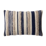 "Magnolia Home by Joanna Gaines 13"" x 21"" Zander Pillow Navy & Ivory - P1022"