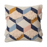 "Magnolia Home by Joanna Gaines 22"" x 22"" Brant Pillow Navy & Pink - P1027"