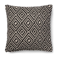 "Magnolia Home by Joanna Gaines 18"" x 18"" Leigh Pillow Black & White - P1010"