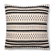 "Magnolia Home by Joanna Gaines 18"" x 18"" Charis Pillow Black & White - P1011"