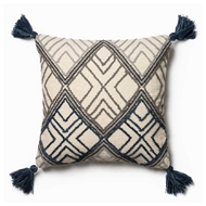 "Magnolia Home by Joanna Gaines 22"" x 22"" Soren Pillow Blue & Ivory - P0425"