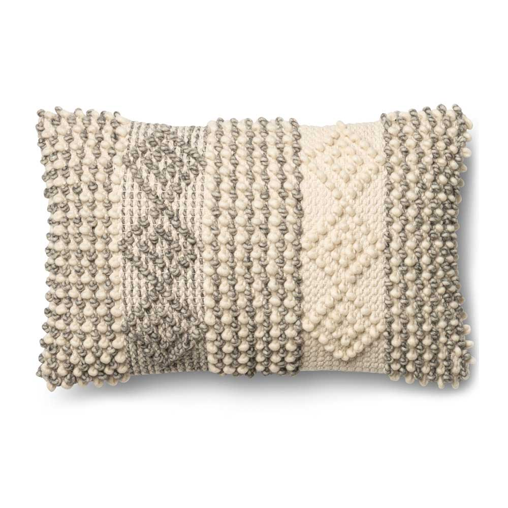 Magnolia Home by Joanna Gaines Grey & Ivory Pillow P0461 - Designer Pillow