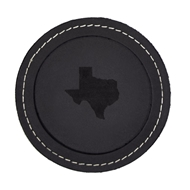 "Maple Leaf 4"" Leather Coaster Black CSBLK-4"