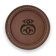 "Maple Leaf 4"" Leather Coaster Brown CSBRN-4"