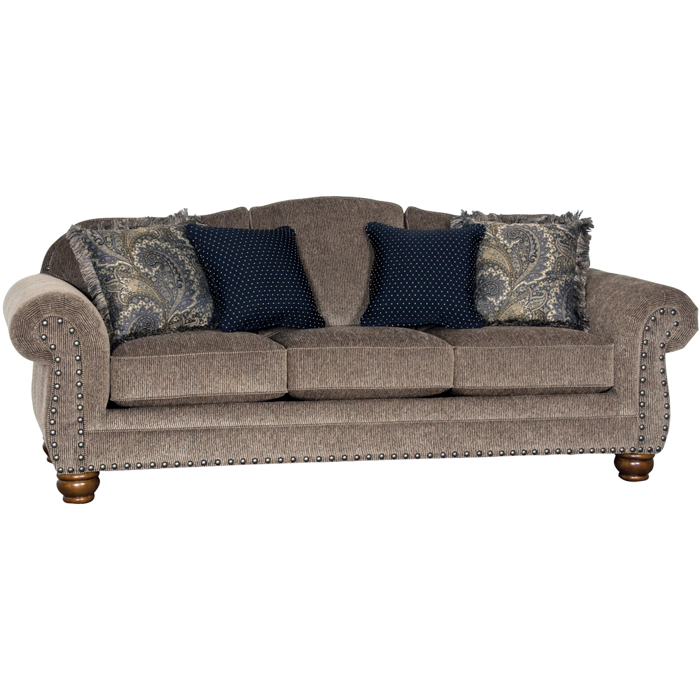 Mayo Furniture Muse Pecan Upholstered Sofa With Nailheads