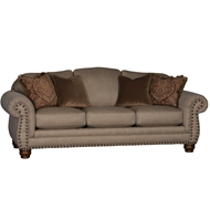 Tiberius Pecan Upholstered Sofa With Nailheads 3180F10