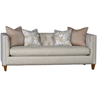 Comfort Mocha Upholstered Sofa With Nailheads 3510F10