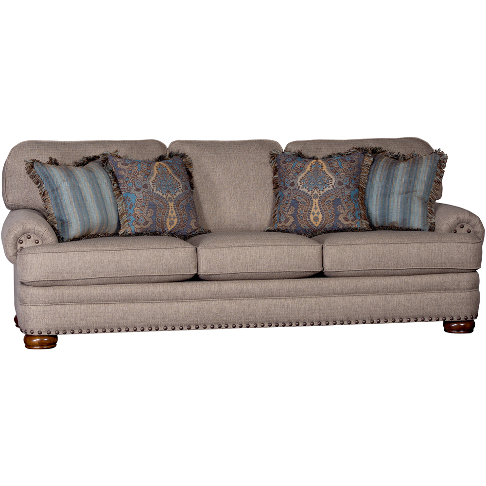 Charmant Mayo Furniture Sugar Shack Timber Upholstered Sofa With Nailheads