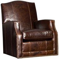 Monte Cristo Cigar Upholstered Swivel Glider with Nailhead finish