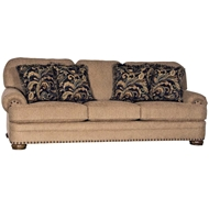 Knickknack Old Gold Upholstered Sofa with Nailhead finish