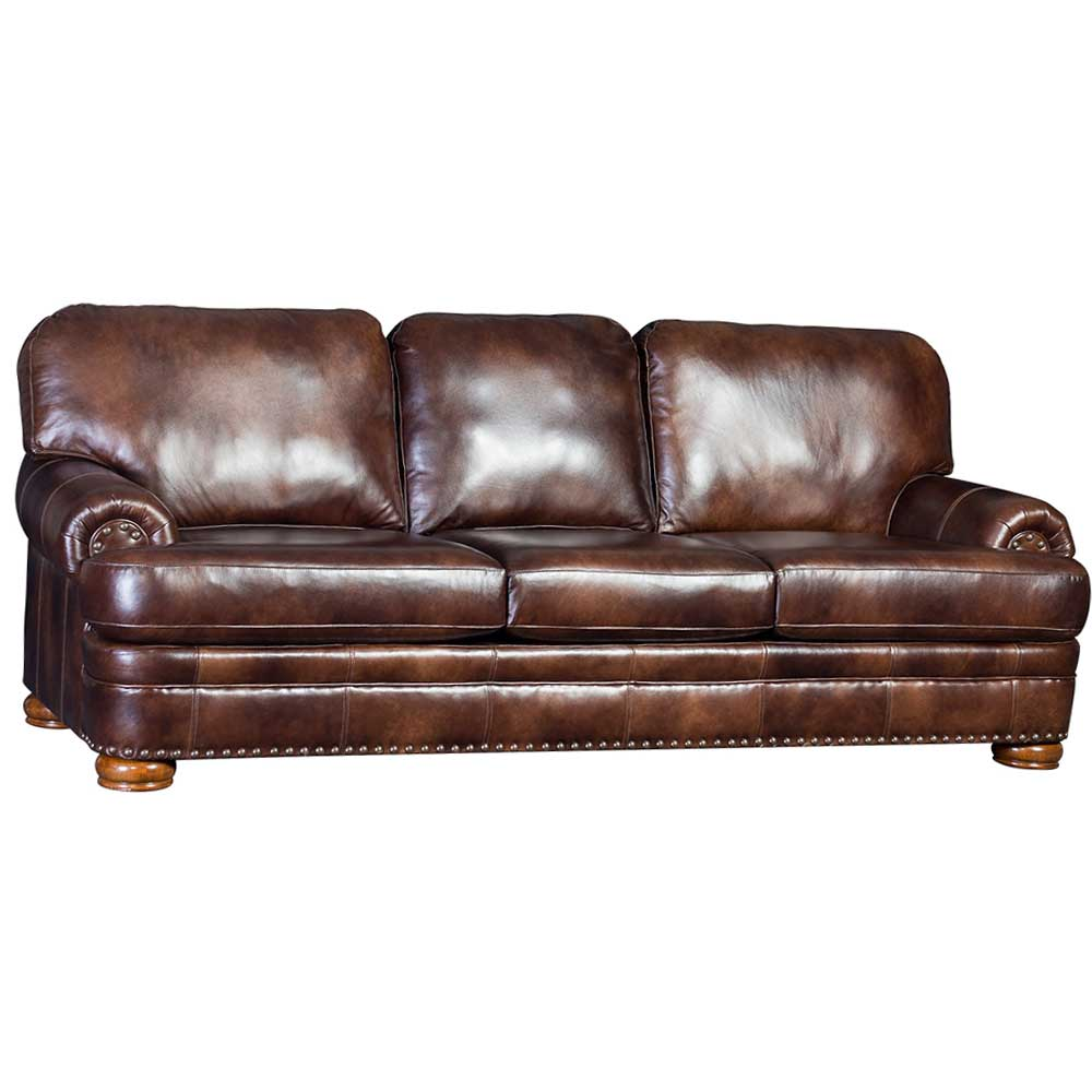 Heirloom Bach Brown Upholstered Sofa With Nailhead Finish ...