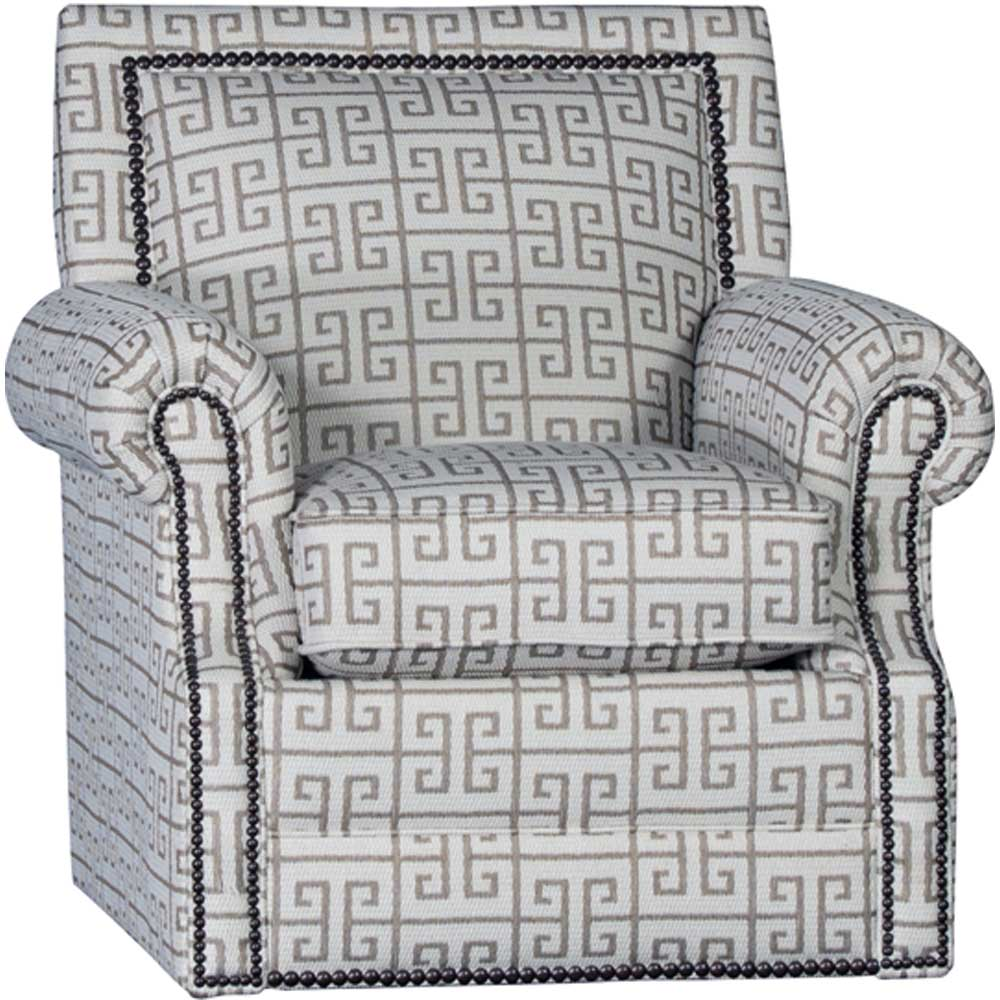 Mayo Furniture Apollonia Latte Upholstered Swivel With Nailheads