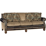 Sumter Stone Upholstered Sofa with Nailhead finish
