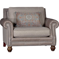 Ocala Pecan Upholstered Chair with Nailhead finish