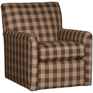 Buffalo Check Brown Upholstered Swivel Glider