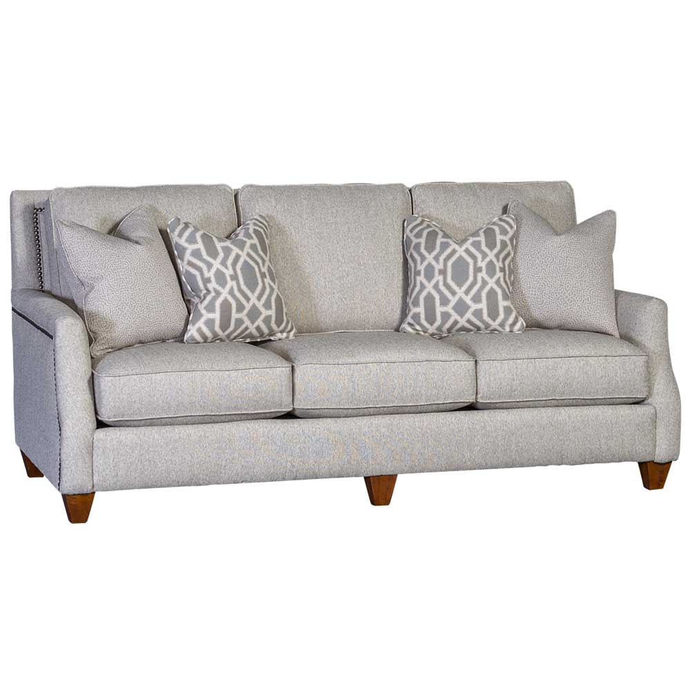 Mayo Furniture Action Tussah Upholstered Sofa with Nailhead finish