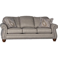 Captain Timber Upholstered Sofa with Nailhead finish