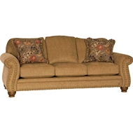 Macy Chestnut Upholstered Sofa with Nailhead finish