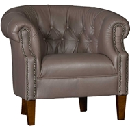 Edinburg Grey Upholstered Chair with Nailhead finish