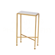 Aidan Gray Home Chino Side Table In Gold With Marble Top F215 GLD - Gold And Marble