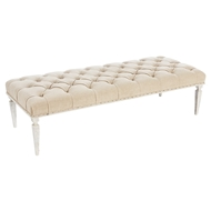 Aidan Gray Home Reese Large Bench in Washed Textured Linen - Rustic White