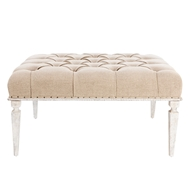 Aidan Gray Home Reese Medium Bench in Washed Textured Linen - Rustic White