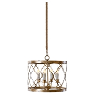 Aidan Gray Home Adella Pendant - Distressed Gold - Metal - Sheet L262 CHAN