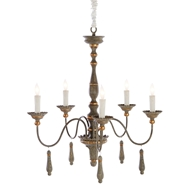 Aidan Gray Home Agen Small Chandelier - Gray - Metal L910S CHAN GRY