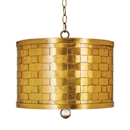 Aidan Gray Home Autumnal Drum Shade Pendant - Gold - Metal L713 PEN