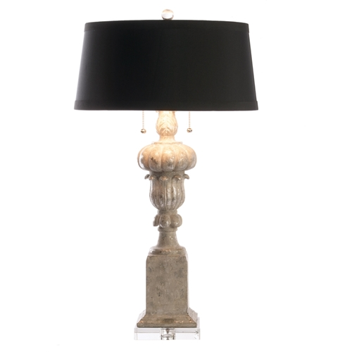 Aidan Gray Home Bruges Table Lamp - Aged Gray/Yellow - Cast Resin L34