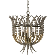 Aidan Gray Home Crown Top Gold Chandelier - Rustic Gray - Wood L836 CHAN GLD