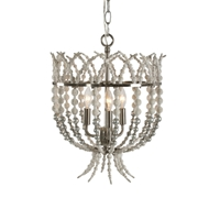 Aidan Gray Home Crown Top Silver Chandelier - Rustic White - Wood L836 CHAN SIL