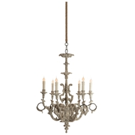 Aidan Gray Home Ebby High French Chandelier - Cathederal White - Wood - Birch L307 CHAN