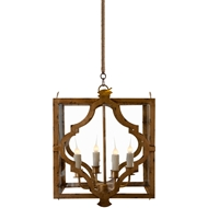 Aidan Gray Home Estelle Pendant - Distressed Gold - Metal - Sheet L263 CHAN