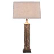 Aidan Gray Home Fluted Column Table Lamp - Gold/Wood