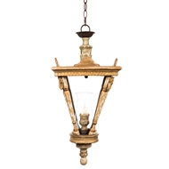 Aidan Gray Home French Lantern Small Pendant - Natural Aged Gold & Wood L563 CHAN