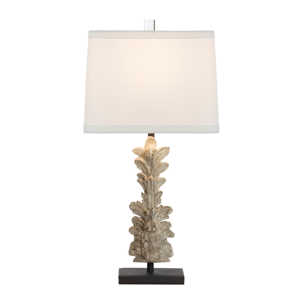 Aidan Gray Home Hestal Fragment Carved Table Lamp - Bleach Wood White - Wood - Birch L410