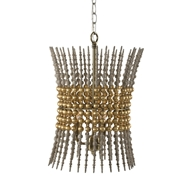Aidan Gray Home Hourglass Gold Chandelier - Rustic Gray - Wood L838 CHAN GLD