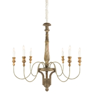 Aidan Gray Home Molines Chandelier - Rustic Brown - Wood - Birch L598 CHAN