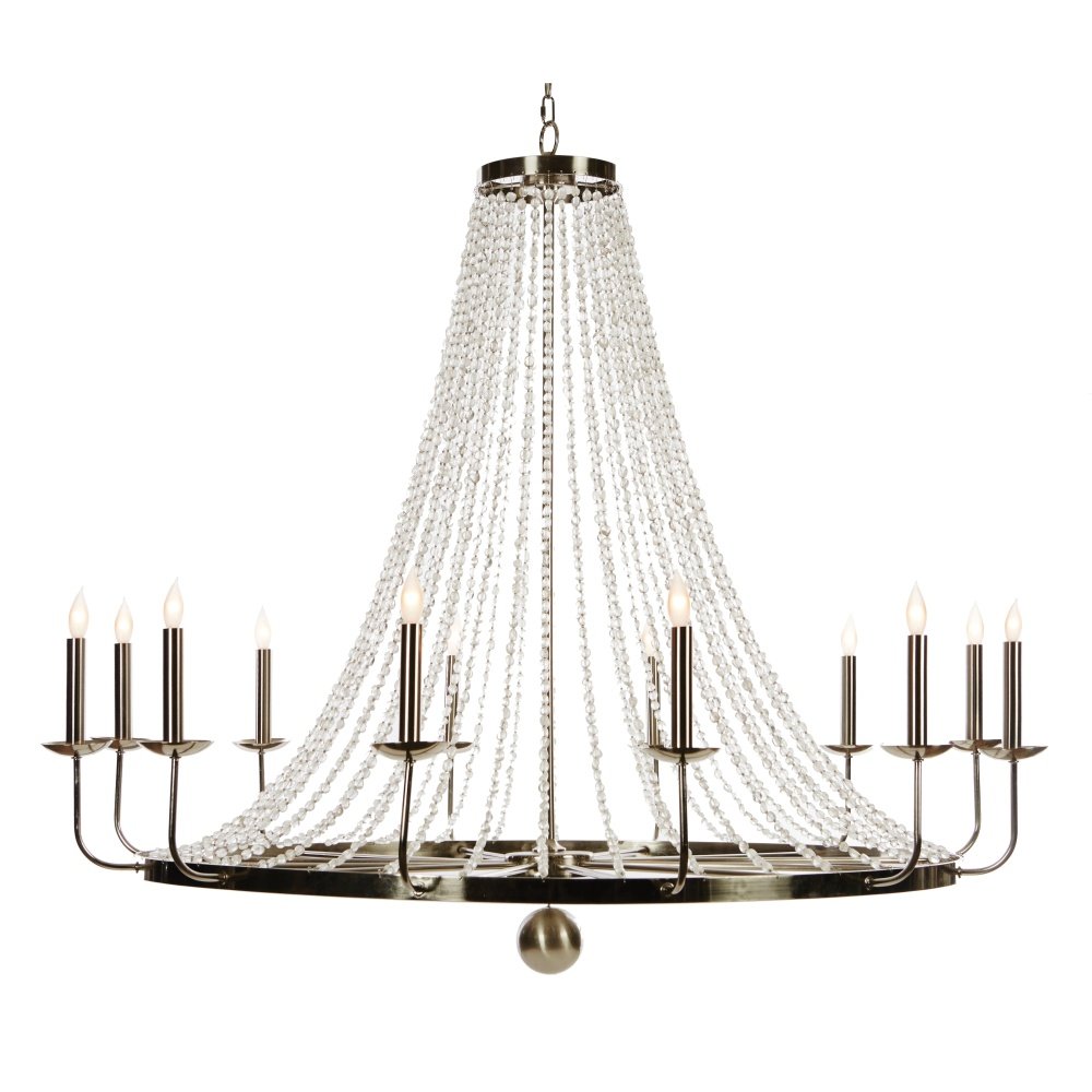 Aidan Gray Home Naples Large Nickel Chandelier - Nickel - Metal - Nickel L430 NICKEL
