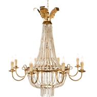 Aidan Gray Home Pommard Small White Chandelier - Antique - Wood L504S CHAN WHT